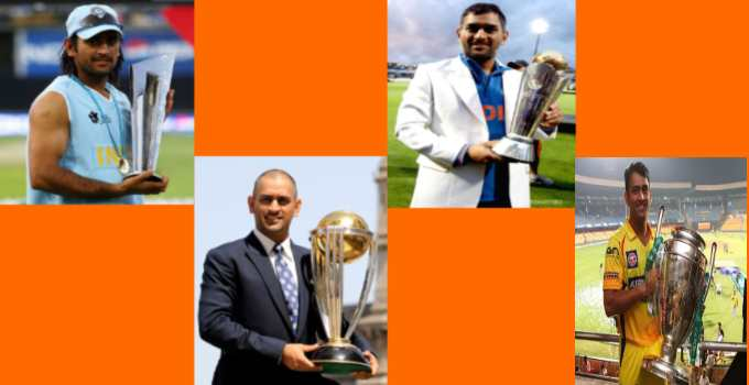 Dhoni with trophy